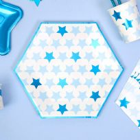 Little Stars Blue Large Paper Plates (8)